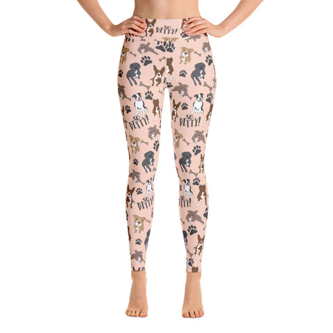 Peach So Pitty Pitbull Yoga Leggings