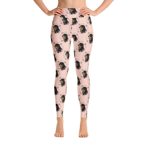 Floral Rottweiler Yoga Leggings