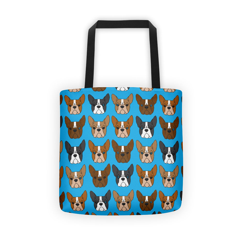 Blue Boston Terrier Tote bag