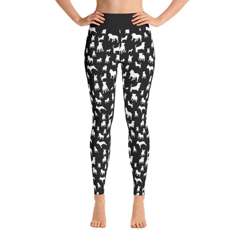 Black Mixed Doggies Leggings Basset Hound Pitbull French Bulldog English Bulldog Yoga Leggings