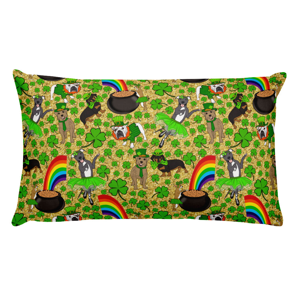 St Patricks Day Doggies Leggings English Bulldog Chihuahua Dachshund Mutt Pitbull Basic Pillow