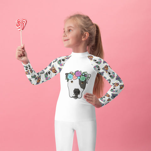 Polka Pitty Pitbull Kids Rash Guard