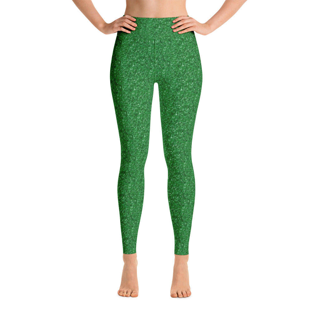 Green Glitter Christmas Yoga Leggings