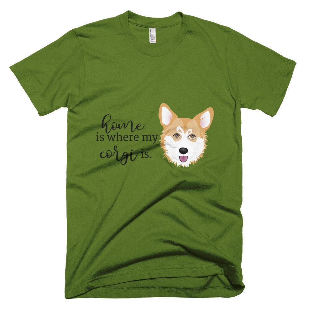 b7ab815a5fe79 Home is where my Corgi Is Short sleeve men's t-shirt. Images / 1 / 2 / 3 ...