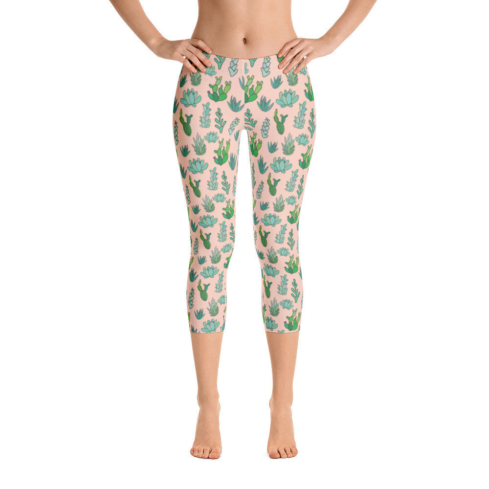 Peach Succulent Capri Leggings
