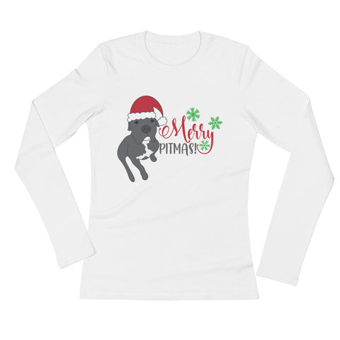 Merry Pitmas Pitbull Christmas Ladies' Long Sleeve T-Shirt