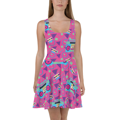 80's Boom Box Fit and Flare Dress