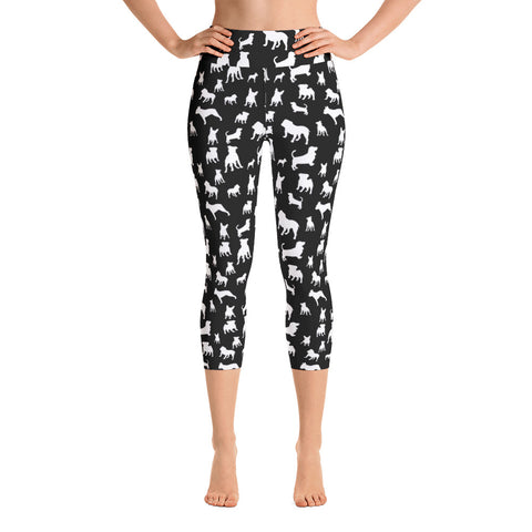 Monochrome Puppies Yoga Capri Leggings