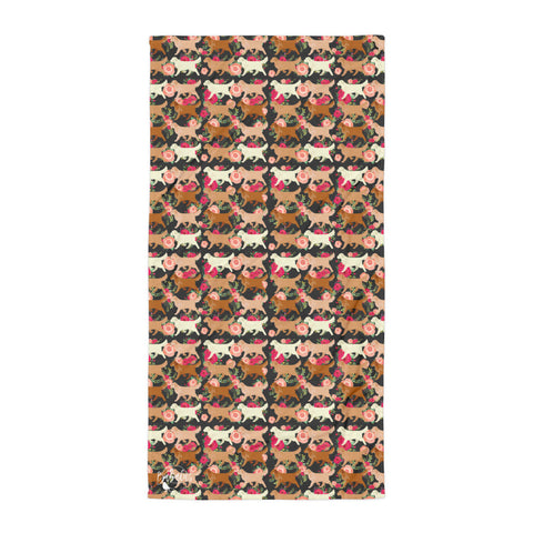 Floral Golden Retriever Towel