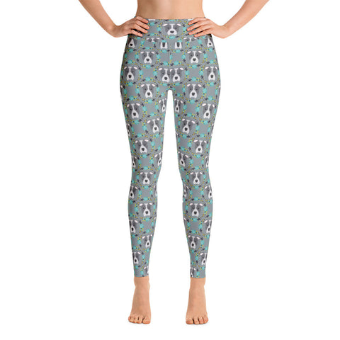 Blue Pitbull Yoga Leggings