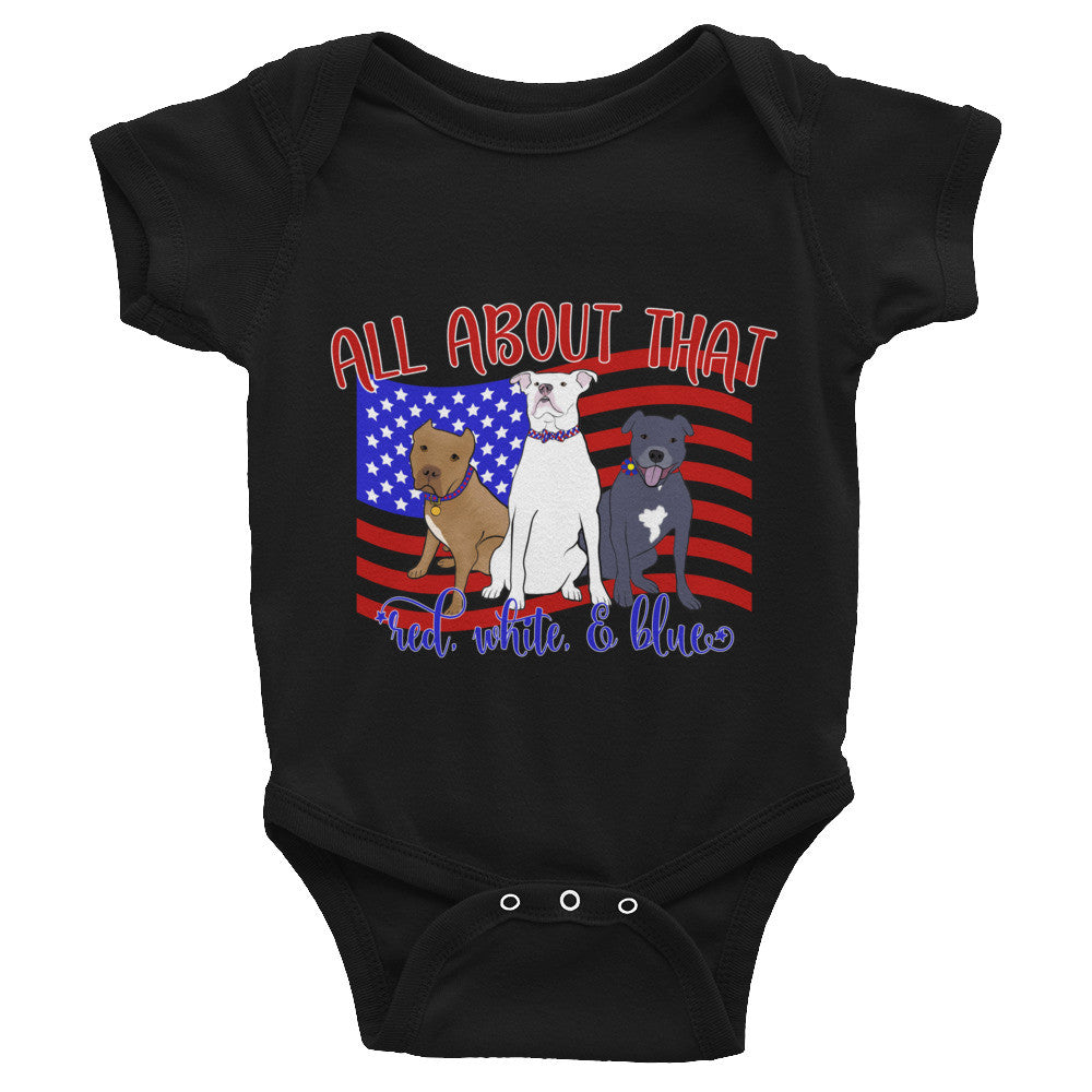 Red, White & Blue Pitbull Infant Bodysuit