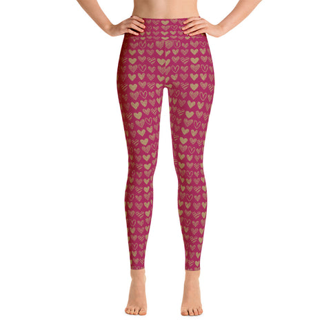 Gold Heart Valentine Yoga Leggings