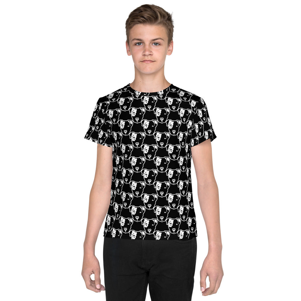 Pitbull Face All over Youth T-Shirt