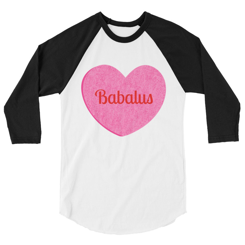 Babalus Conversation Heart Valentines Day 3/4 sleeve raglan shirt