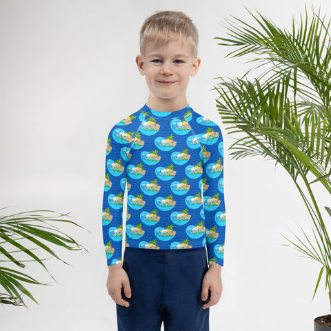 Surfing Pitbull Mr Wilson Kids Rash Guard