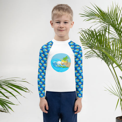 Mr Wilson Surfing Pitbull Kids Rash Guard