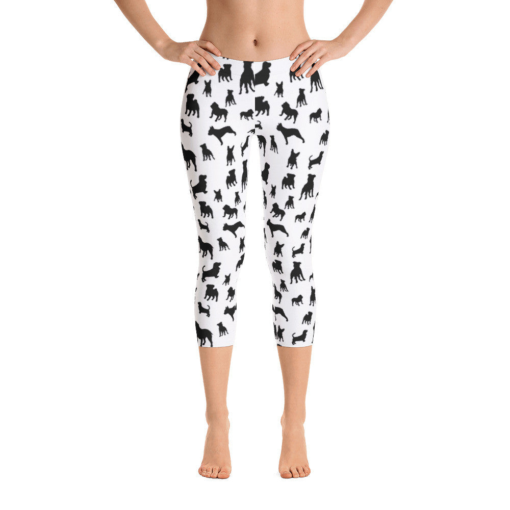 White Mixed Doggies Leggings Basset Hound Pitbull French Bulldog English Bulldog Capri Leggings