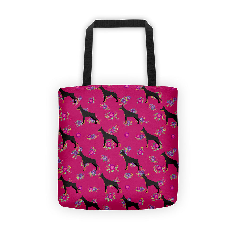 Floral Doberman Tote bag