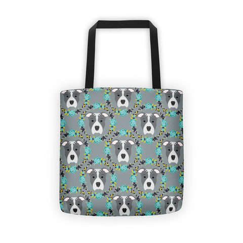 Blue Pitbull Tote bag