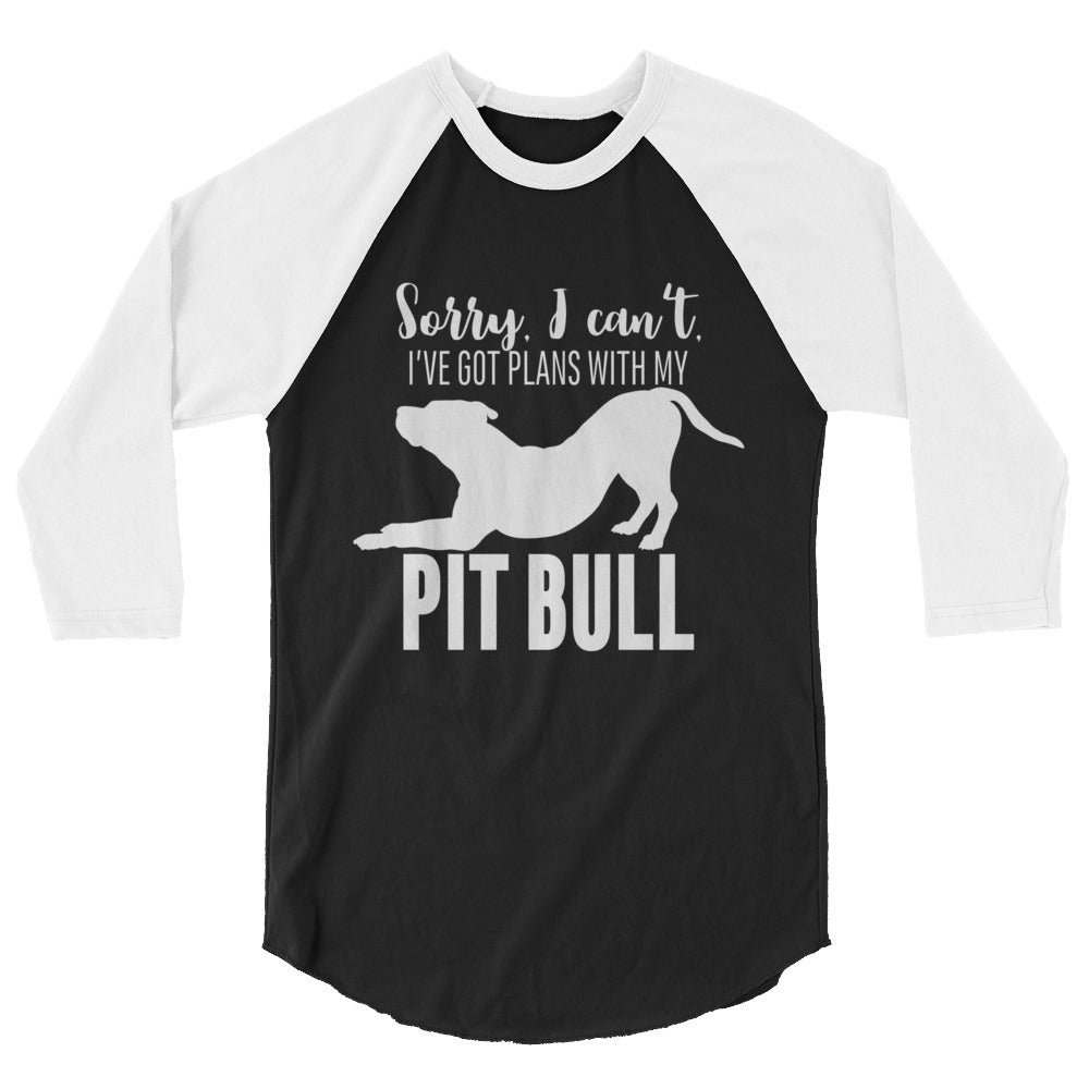 Plans with my pitbull 3/4 sleeve raglan shirt