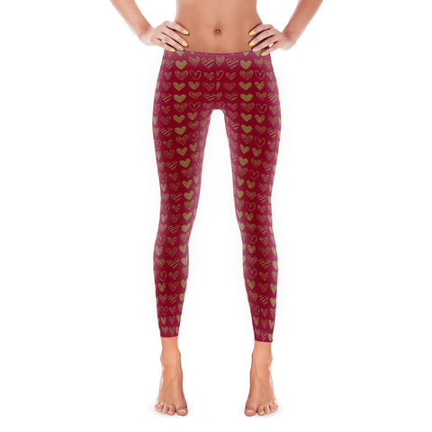 Gold Heart Valentine Women's Leggings
