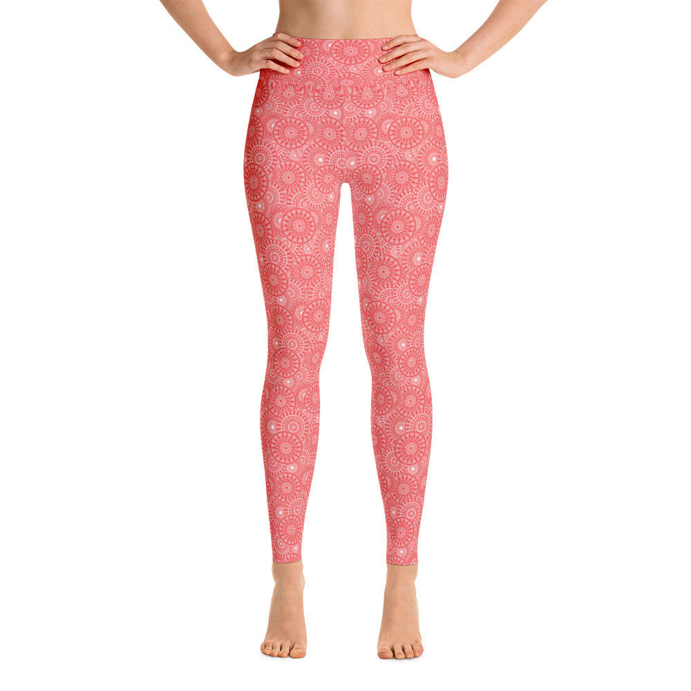Coral Medallion Yoga Leggings