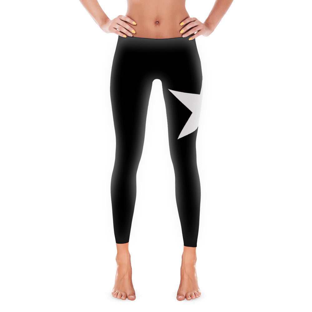 White Star On Black Women's Leggings