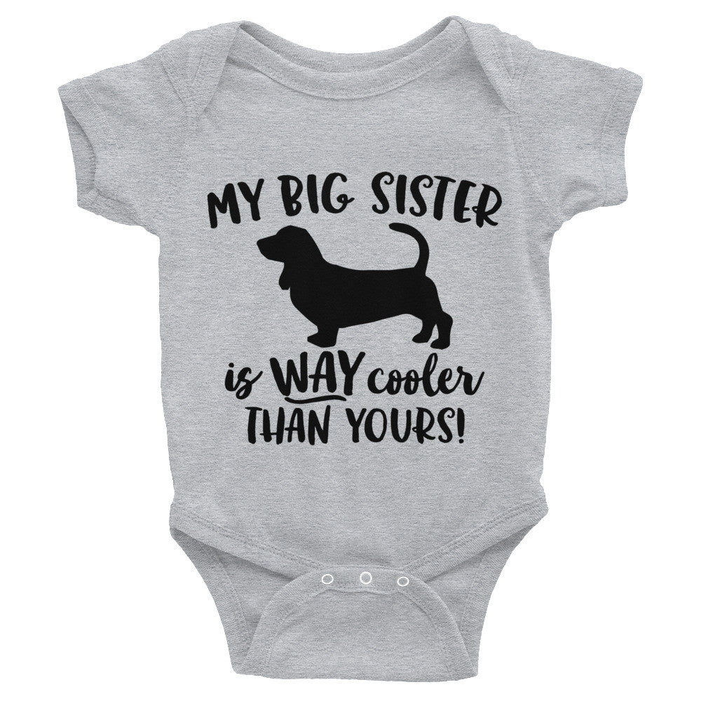 Big Sister Bassett Hound Infant Bodysuit
