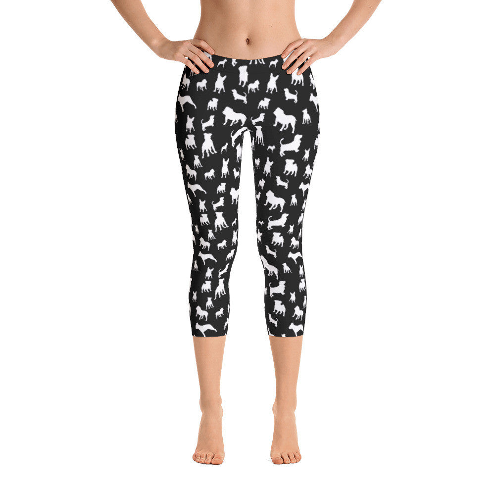 Black Mixed Doggies Leggings Basset Hound Pitbull French Bulldog English Bulldog Capri Leggings