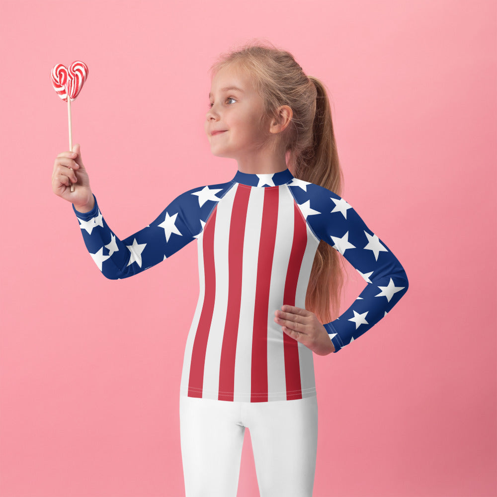 American Flag Kids Rash Guard