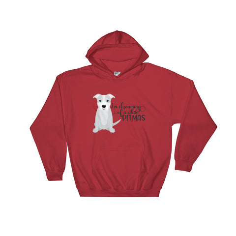 I'm Dreaming of a White Pitmas Pitbull Christmas Hooded Sweatshirt