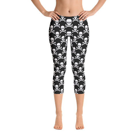 Skull & Crossbones Capri Leggings