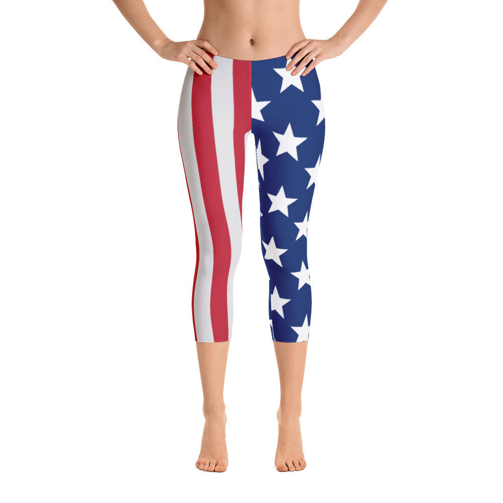 American flag Red, White & Blue Capri Leggings