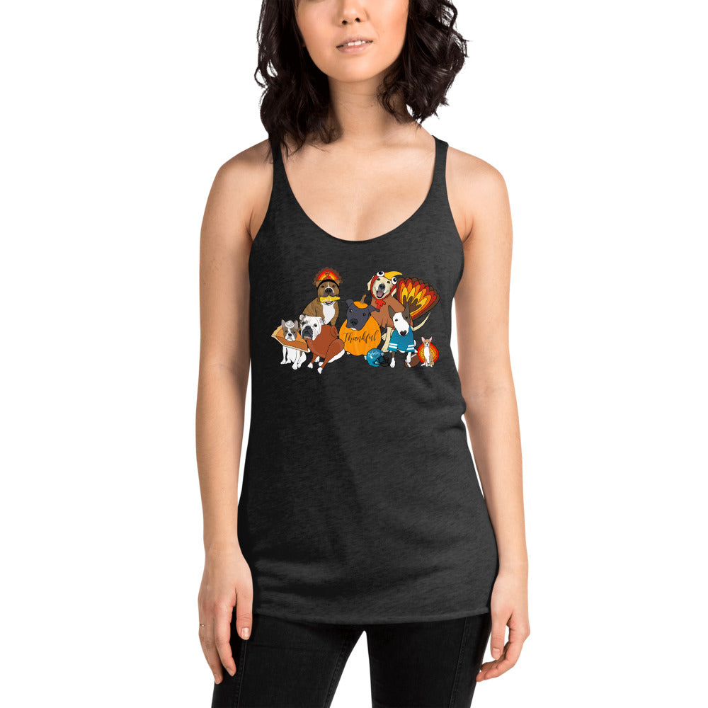 Thanksgiving Doggies Women's Racerback Tank