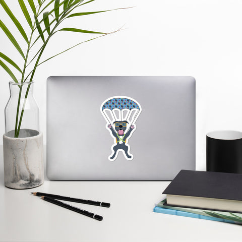 Parachuting Pitbull Sticker