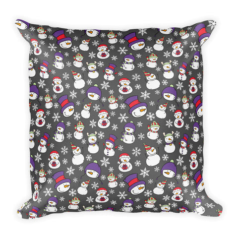 Christmas Winter Snowman Square Pillow