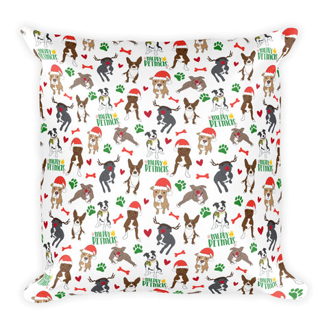 Merry Pitmas Christmas Pitbull Square Pillow
