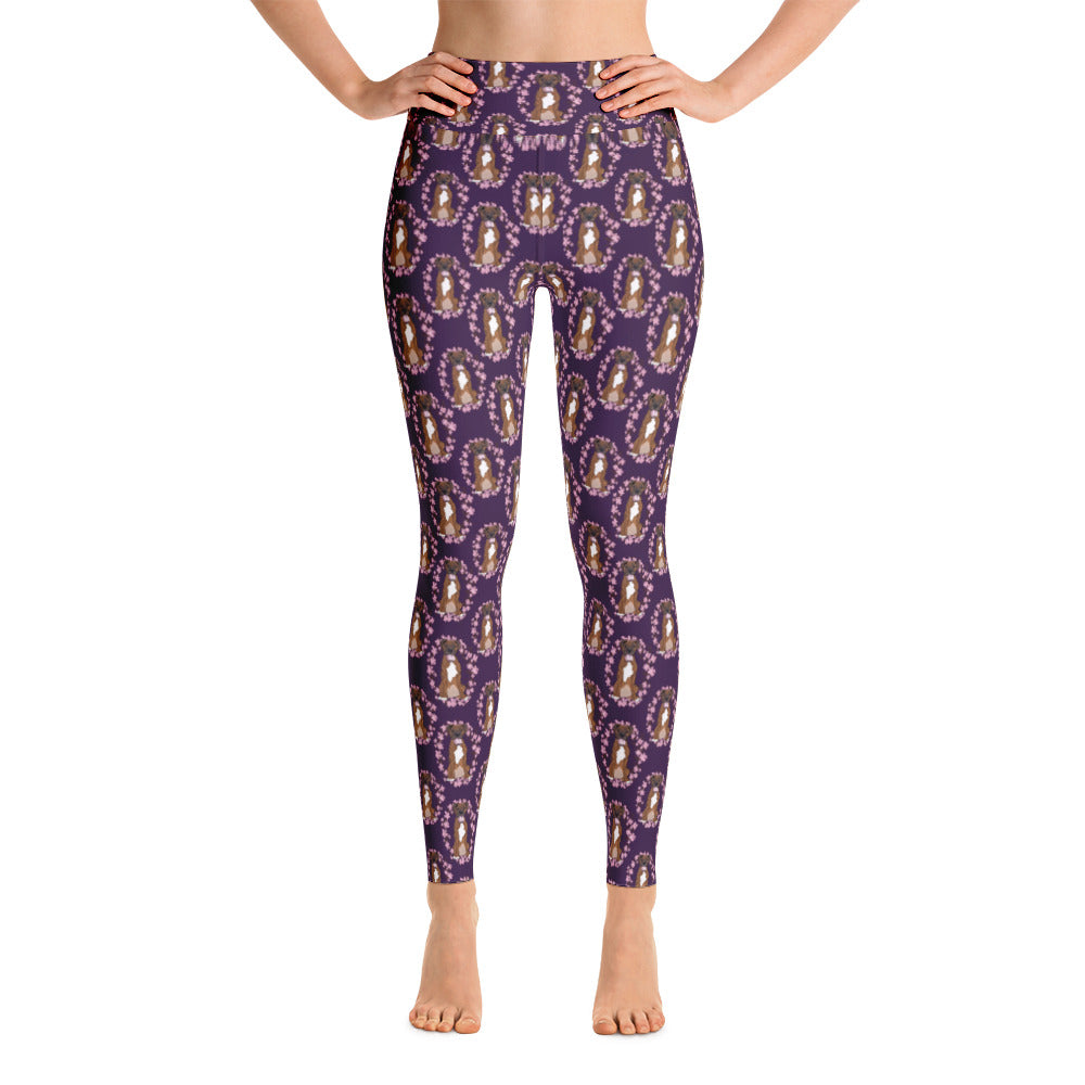Riley the Boxer Floral Yoga Leggings