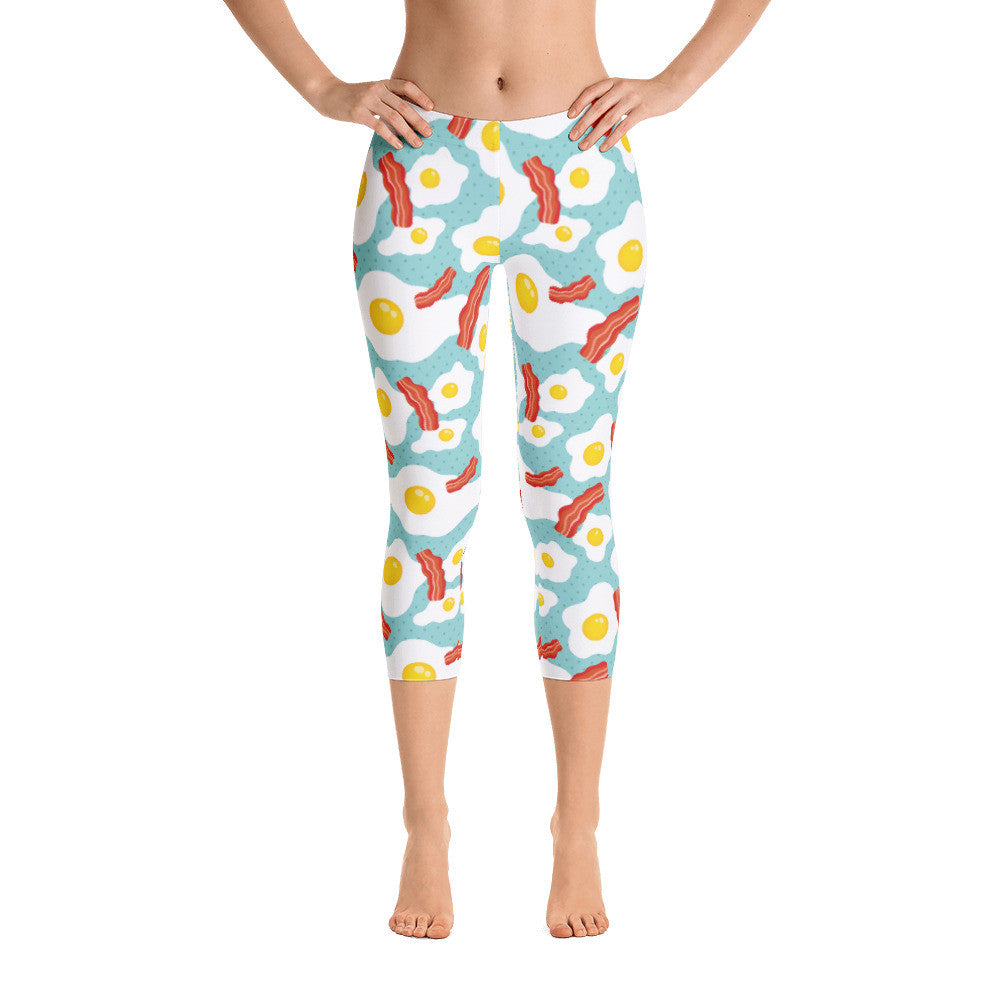 Bacon & Eggs Breakfast Capri Leggings