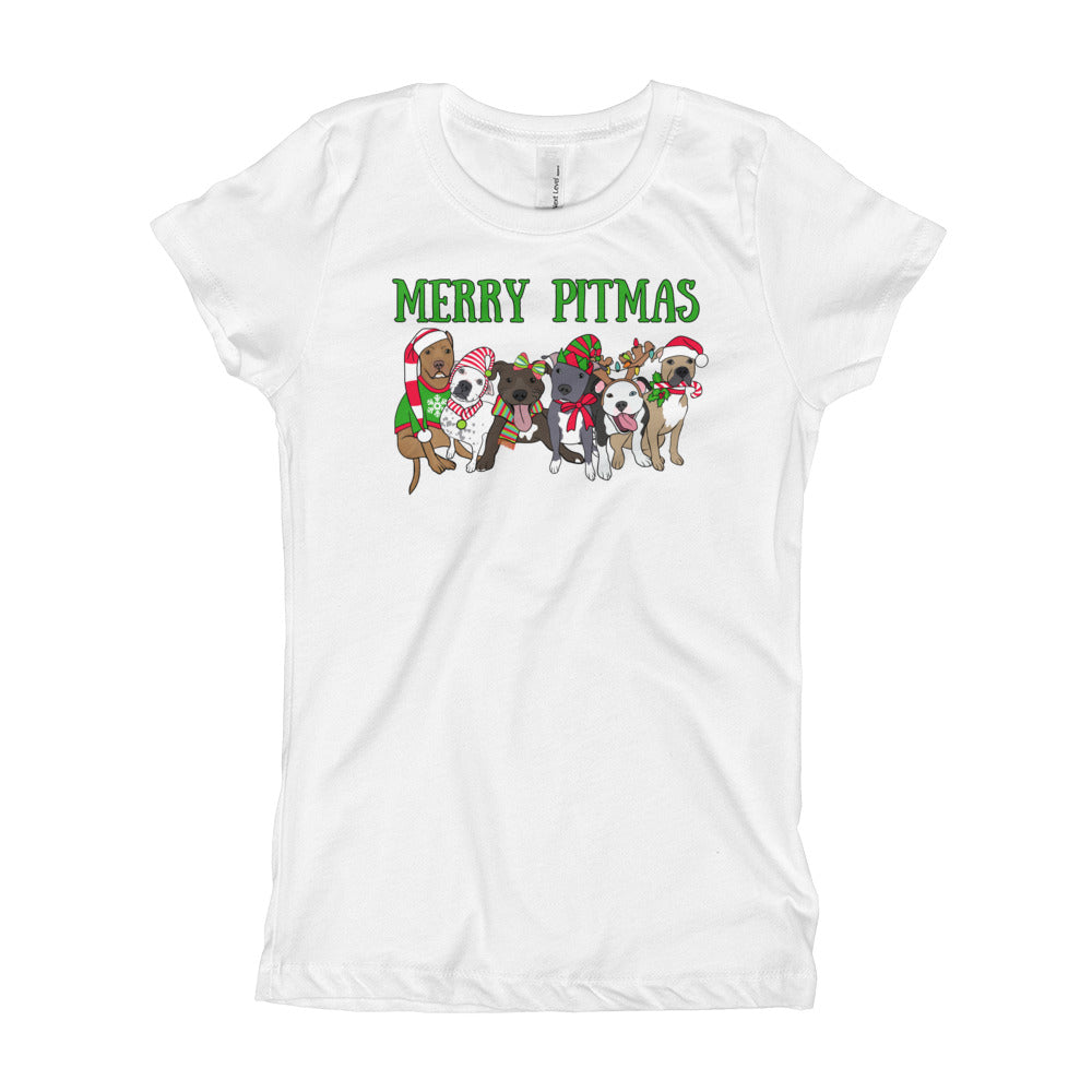 Christmas Merry Pitmas Christmas Pitbull Girl's T-Shirt