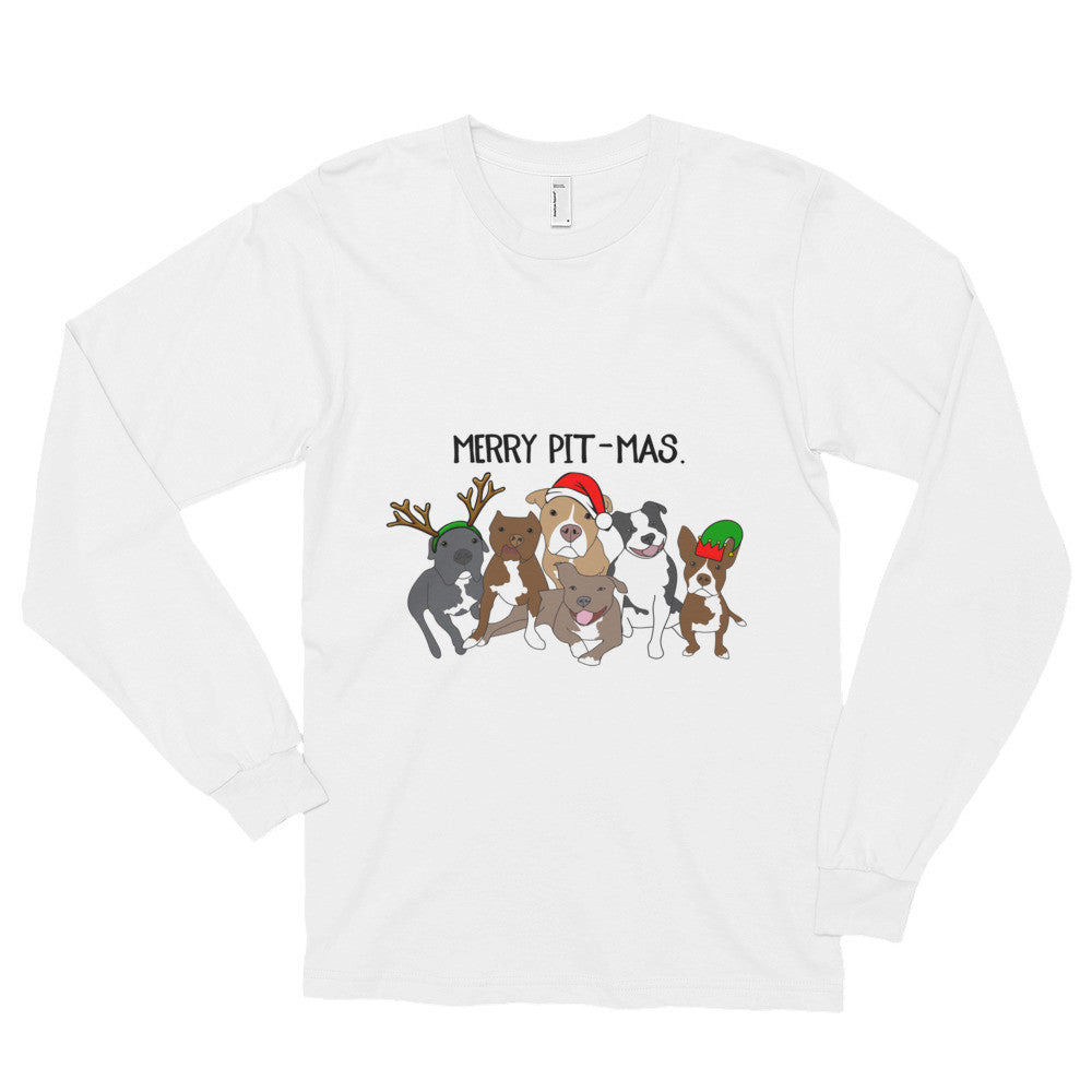 Merry Pitmas Pitbull Long sleeve t-shirt (unisex)