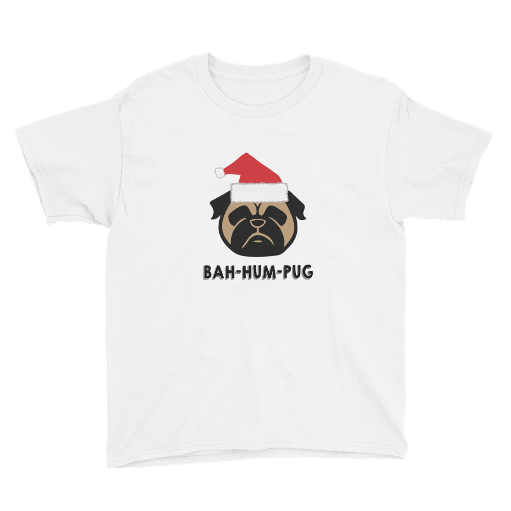 BAH HUM PUG Christmas Youth Short Sleeve T-Shirt