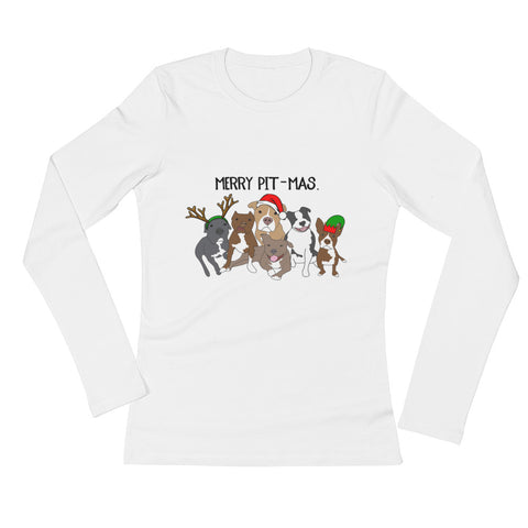 Christmas Merry Pitmas Pitbull Ladies' Long Sleeve T-Shirt