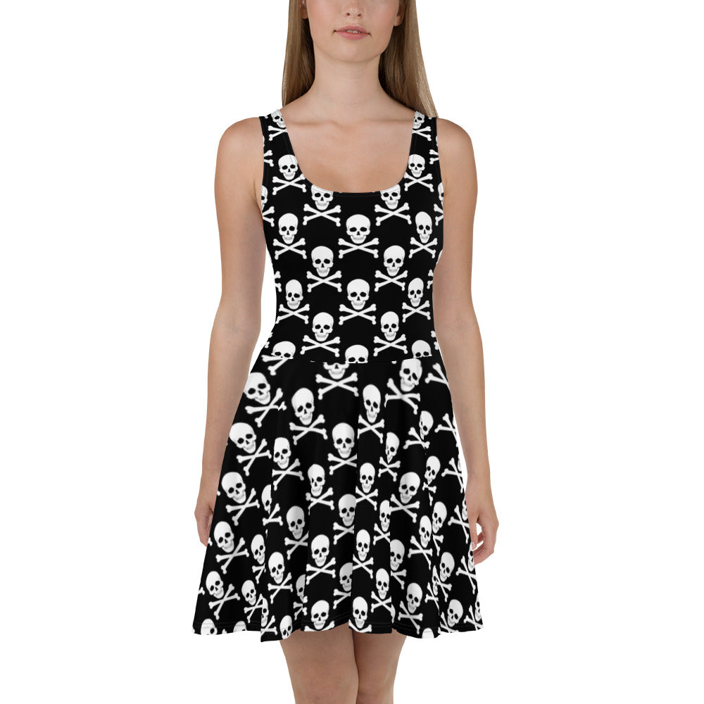 Skull & Crossbones Fit and Flare Womens Dress