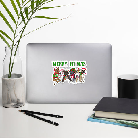 Merry Pitmas Pitbull Stickers