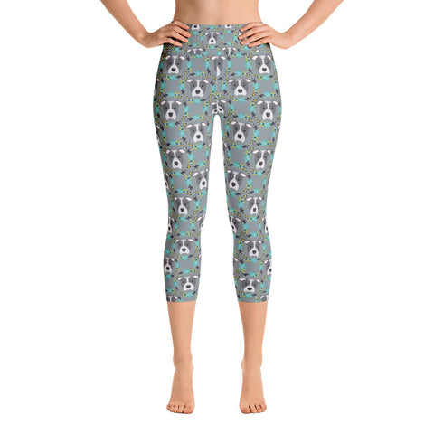 Floral Blue Pitbull Yoga Capri Leggings