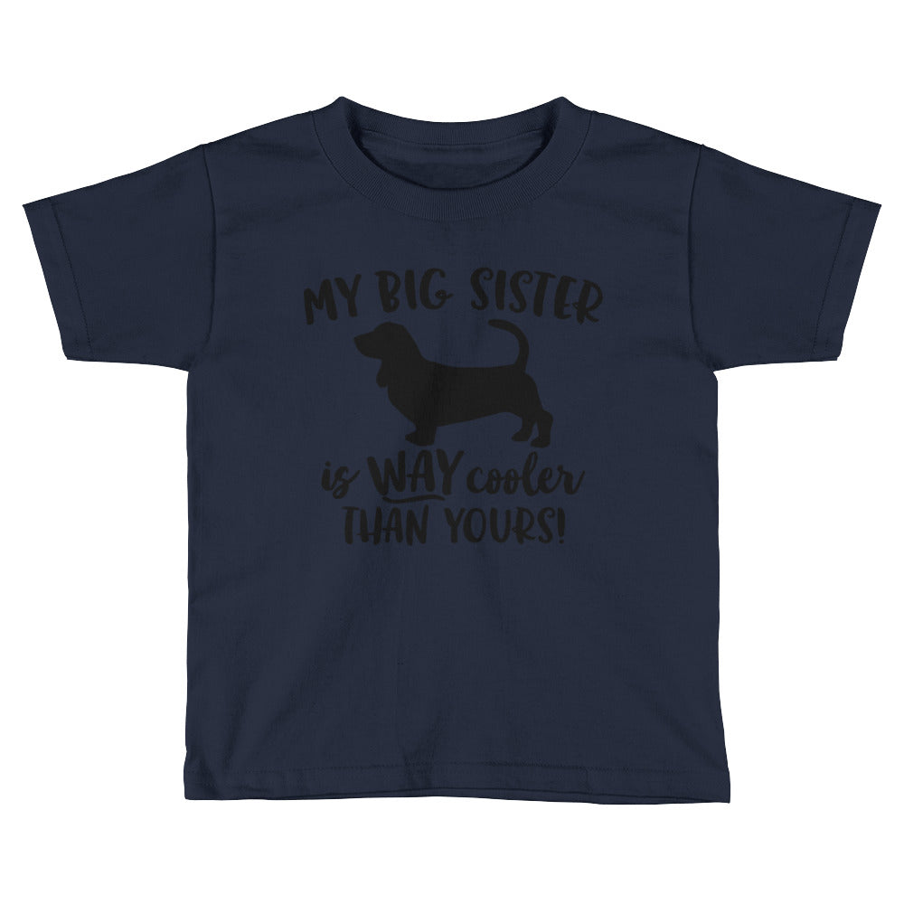 Basset Hound Big Sister Kids Short Sleeve T-Shirt