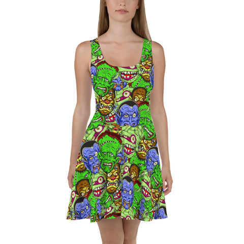 Movie Monsters Womens Fit and Flare Dress