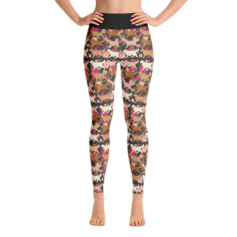 Floral Golden Retriever Yoga Leggings