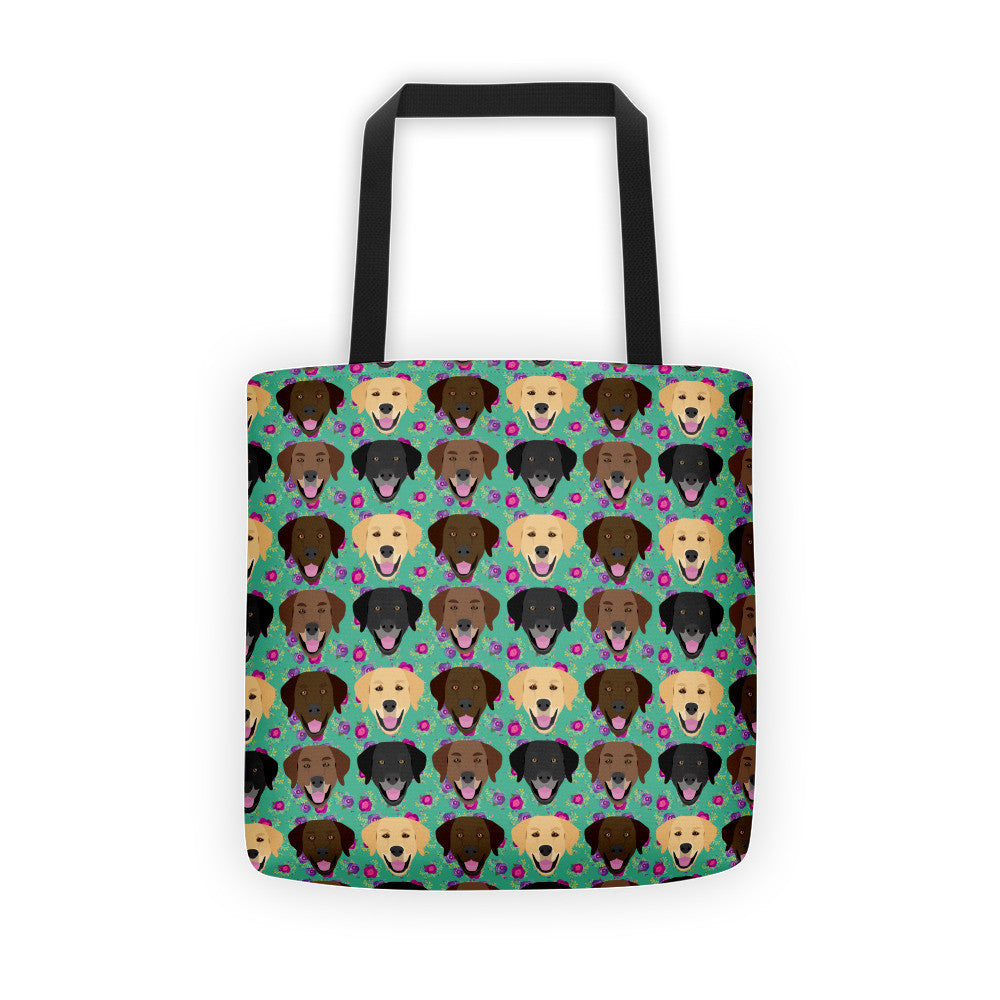 Floral Labrador Retriever Tote bag